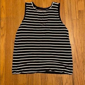 Yogalicious black and white striped tank Large